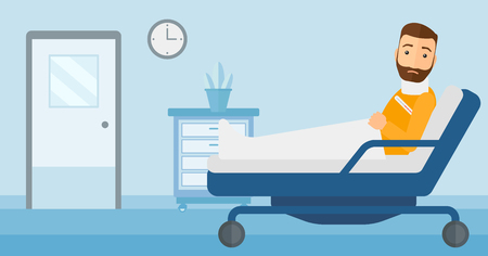 A hipster man with injured neck lying in bed in hospital ward vector flat design illustration. Horizontal layout.