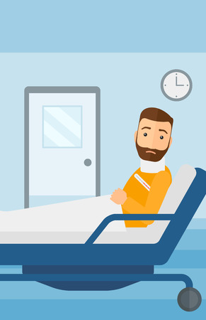 A hipster man with injured neck lying in bed in hospital ward vector flat design illustration. Vertical layout.