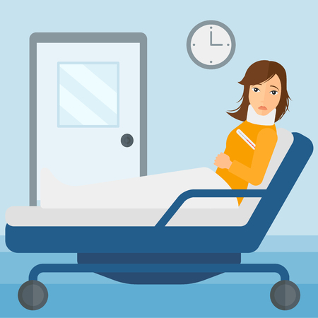 woman lying in bed: A woman with injured neck lying in bed in hospital ward vector flat design illustration. Square layout.