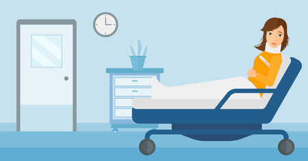 woman lying in bed: A woman with injured neck lying in bed in hospital ward vector flat design illustration. Horizontal layout.