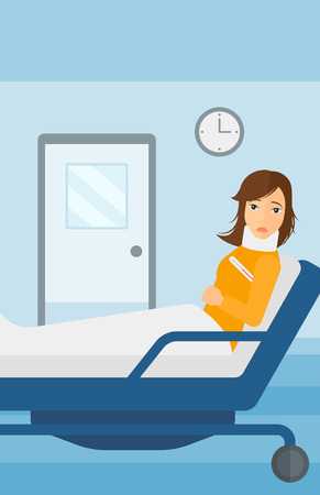 woman lying in bed: A woman with injured neck lying in bed in hospital ward vector flat design illustration. Vertical layout.