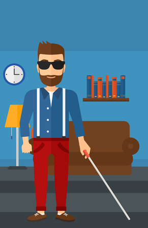 poor eyesight: A blind hipster man in dark glasses standing with walking stick on the background of furnished room vector flat design illustration. Vertical layout.