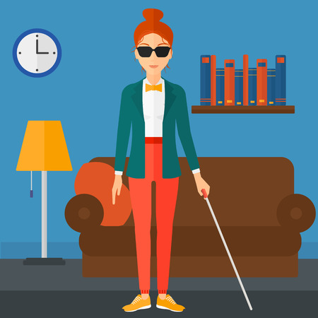 poor eyesight: A blind woman in dark glasses standing with walking stick on the background of furnished room vector flat design illustration. Square layout. Illustration