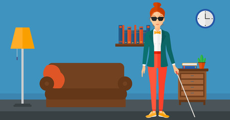 poor eyesight: A blind woman in dark glasses standing with walking stick on the background of furnished room vector flat design illustration. Horizontal layout. Illustration
