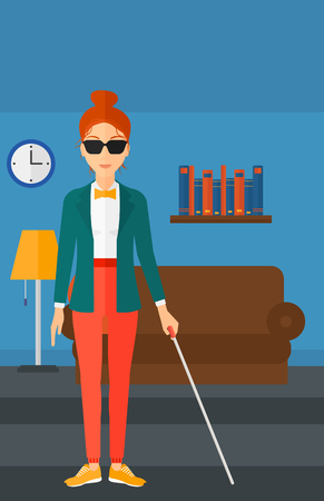 A blind woman in dark glasses standing with walking stick on the background of furnished room vector flat design illustration. Vertical layout.