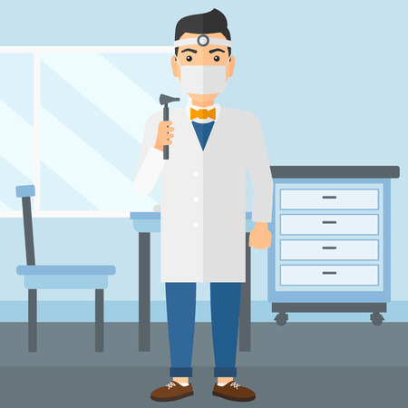 listening ear: Doctor otolaryngologist on the background of medical office vector flat design illustration. Square layout. Illustration