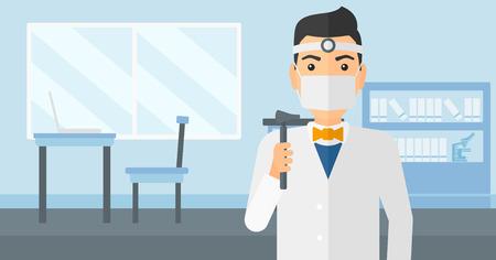otolaryngologist: Doctor otolaryngologist on the background of medical office vector flat design illustration. Horizontal layout.