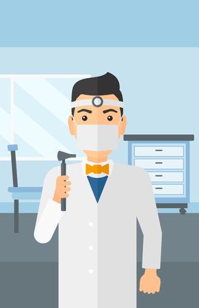 otolaryngologist: Doctor otolaryngologist on the background of medical office vector flat design illustration. Vertical layout.