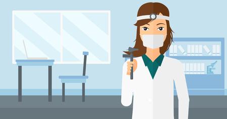 Doctor otolaryngologist on the background of medical office vector flat design illustration. Horizontal layout.