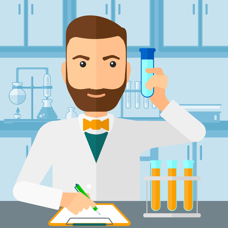 holding notes: A hipster man with the beard taking some notes and holding a test tube on the background of laboratory vector flat design illustration. Square layout. Illustration