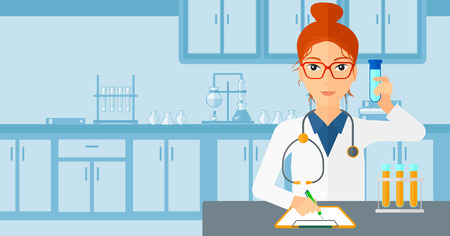 medicine and science: A woman taking some notes and holding a test tube on the background of laboratory vector flat design illustration. Horizontal layout. Illustration