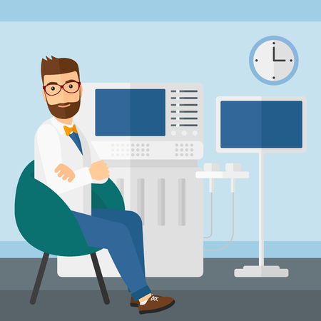 specialist: Male ultrasound specialist with ultrasonic equipment in hospital vector flat design illustration. Square layout.