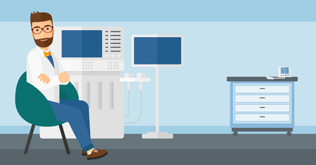 Male ultrasound specialist with ultrasonic equipment in hospital vector flat design illustration. Horizontal layout.
