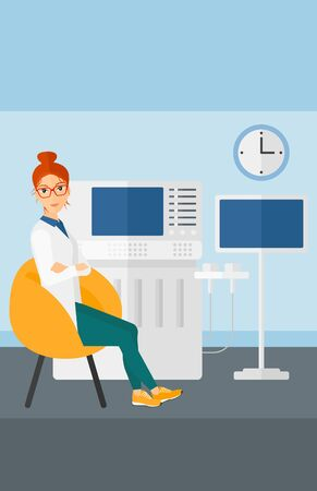 specialist: Female ultrasound specialist with ultrasonic equipment in hospital vector flat design illustration. Vertical layout.