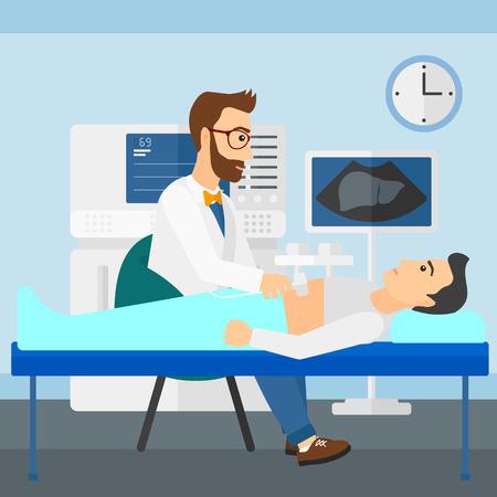 medical examination: Doctor with ultrasonic equipment during ultrasound medical examination of a man vector flat design illustration. Square layout. Illustration