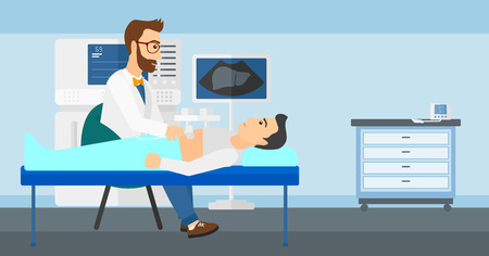 Doctor with ultrasonic equipment during ultrasound medical examination of a man vector flat design illustration. Horizontal layout.