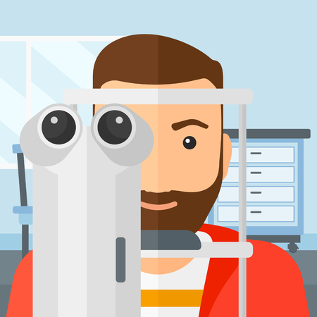 eye exam: A hipster man with the beard during eye exam on the background of medical office vector flat design illustration. Square layout.