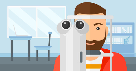 eye exam: A hipster man with the beard during eye exam on the background of medical office vector flat design illustration. Horizontal layout.