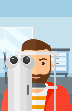 eye exam: A hipster man with the beard during eye exam on the background of medical office vector flat design illustration. Vertical layout.