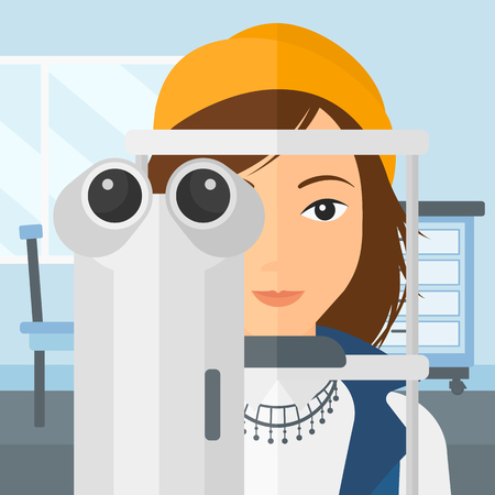 A woman during eye examon the background of medical office vector flat design illustration. Square layout. Illustration