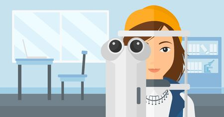 A woman during eye examon the background of medical office vector flat design illustration. Horizontal layout. Ilustracja