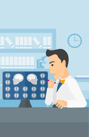 mri head: A doctor looking at results of MRI scan on a computer screen on the background of medical office vector flat design illustration. Vertical layout.