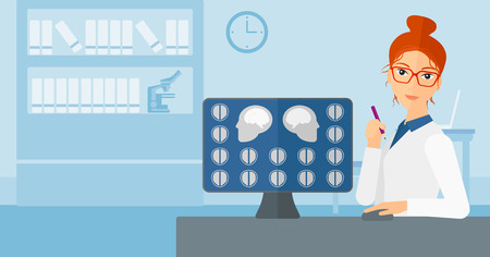 A doctor looking at results of MRI scan on a computer screen on the background of medical office vector flat design illustration. Horizontal layout.