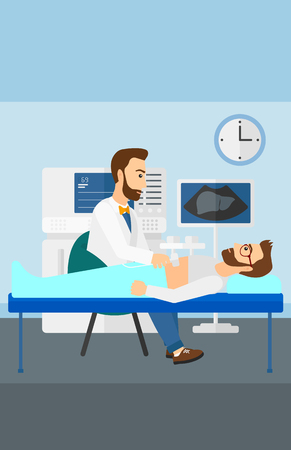 medical examination: Doctor with ultrasonic equipment during ultrasound medical examination of a man vector flat design illustration. Vertical layout.