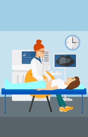 doctor exam: Doctor with ultrasonic equipment during ultrasound medical examination of a woman vector flat design illustration. Vertical layout.