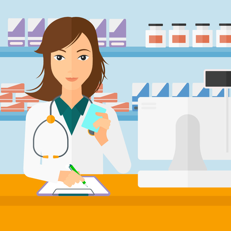 A woman holding a prescription in a hand and taking notes in a pharmacy opposite the shelves with medicines vector flat design illustration. Square layout.