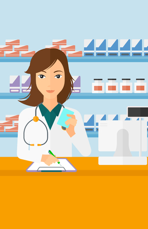 druggist: A woman holding a prescription in a hand and taking notes in a pharmacy opposite the shelves with medicines vector flat design illustration. Vertical layout.