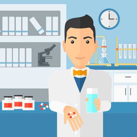 druggist: A man holding in hands a glass of water and some pills on the background of laboratory vector flat design illustration. Square layout.
