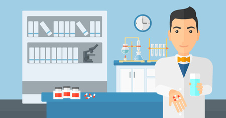 druggist: A man holding in hands a glass of water and some pills on the background of laboratory vector flat design illustration. Horizontal layout. Illustration