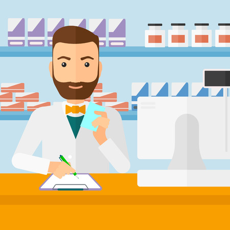 taking notes: A hipster man with the beard holding a prescription in a hand and taking notes in a pharmacy opposite the shelves with medicines vector flat design illustration. Square layout.