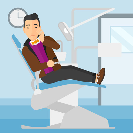tooth pain: A man sitting in chair in dental office and suffering from tooth pain vector flat design illustration. Square layout.
