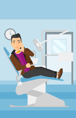 tooth pain: A man sitting in chair in dental office and suffering from tooth pain vector flat design illustration. Vertical layout.