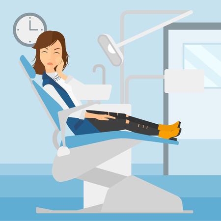 tooth pain: A woman sitting in chair in dental office and suffering from tooth pain vector flat design illustration. Square layout. Illustration