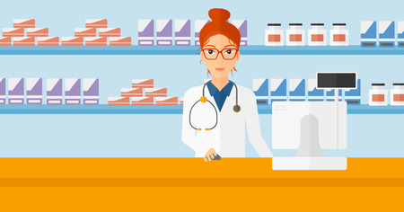 A woman at the counter in a pharmacy opposite the shelves with medicines vector flat design illustration. Horizontal layout.