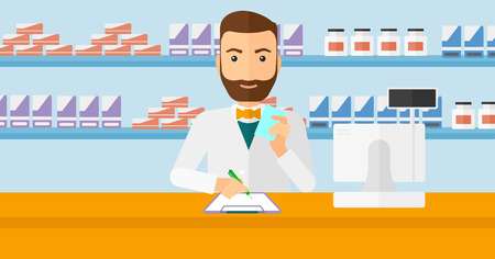 druggist: A hipster man with the beard holding a prescription in a hand and taking notes in a pharmacy opposite the shelves with medicines vector flat design illustration. Horizontal layout.