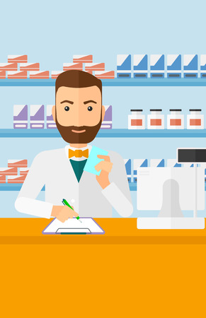 taking notes: A hipster man with the beard holding a prescription in a hand and taking notes in a pharmacy opposite the shelves with medicines vector flat design illustration. Vertical layout.