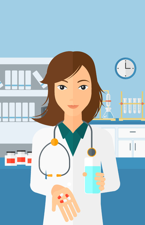 A woman holding in hands a glass of water and some pills on the background of laboratory vector flat design illustration. Vertical layout.