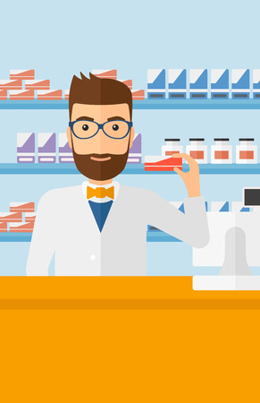 A hipster man with the beard showing some medicine on a pharmacy background vector flat design illustration. Vertical layout.