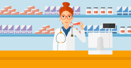 druggist: A woman showing some medicine on a pharmacy background vector flat design illustration. Horizontal layout. Illustration