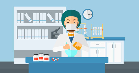 A hipster man with the beard preparing medicine on the background of laboratory vector flat design illustration. Horizontal layout. Ilustração