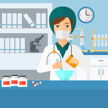 medical preparation: A woman preparing medicine on the background of laboratory vector flat design illustration. Square layout.