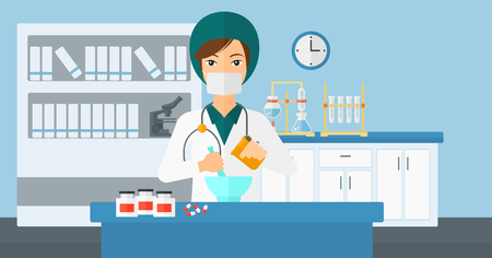 A woman preparing medicine on the background of laboratory vector flat design illustration. Horizontal layout.