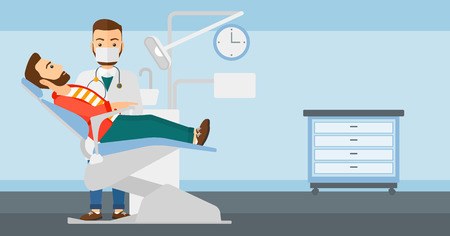 exam room: Dentist and hipster man with the beard in dentist chair in exam room vector flat design illustration. Horizontal layout.