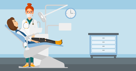 Dentist and woman in dentist chair in exam room vector flat design illustration. Horizontal layout. Illustration