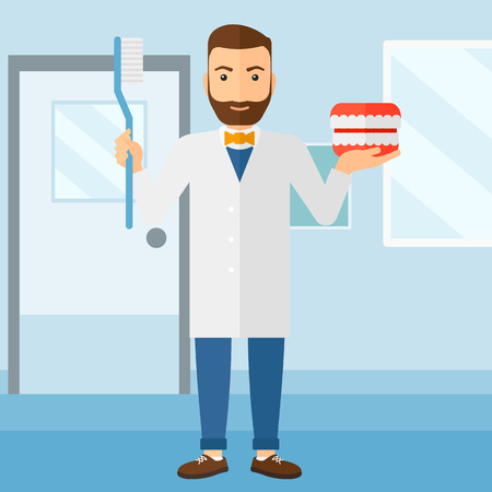 A hipster man with a dental jaw model and a toothbrush on a polyclinic background vector flat design illustration. Square layout.