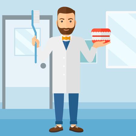Ein Hipster Mann mit einem Zahnkiefermodell und eine Zahnbürste auf einem polyclinic Hintergrund Vektor flache Design-Illustration. Platz Layout.